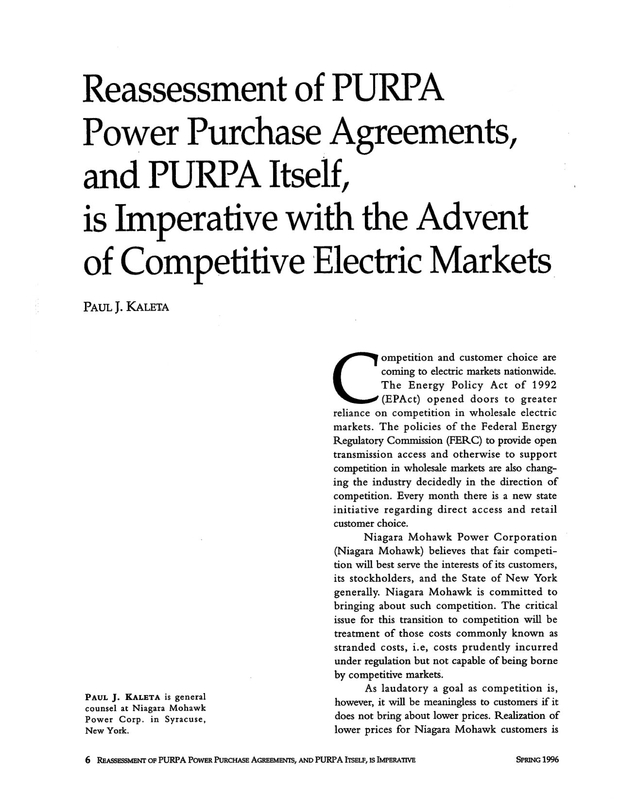 Reassessment Of Purpa Power Purchase Agreements And Purpa Itself